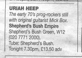 Uriah Heep anouncement